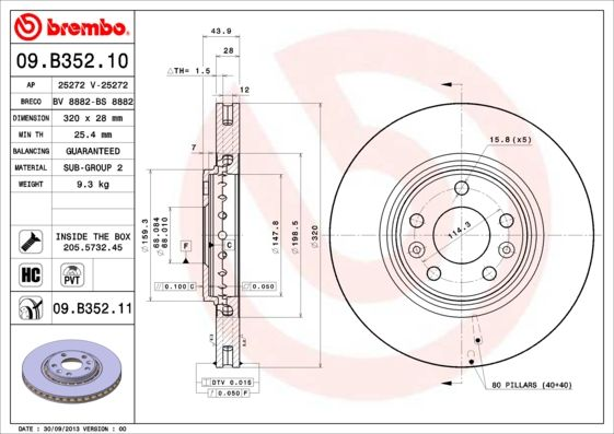 Brake Discs 09.B352.11 BREMBO 09.B352.11 original quality