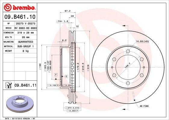 Bremsscheiben 09.B461.10 BREMBO 09.B461.10 in Original Qualität