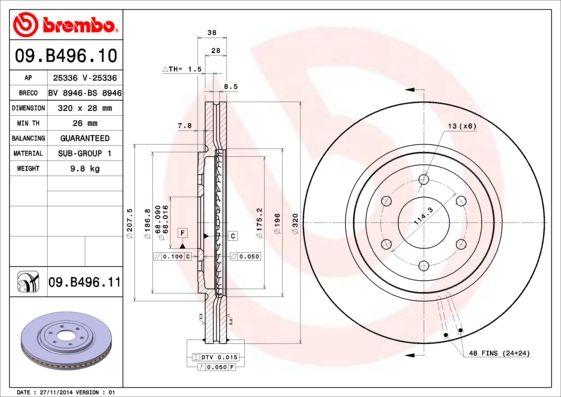 Bremsscheiben 09.B496.10 BREMBO 09.B496.10 in Original Qualität