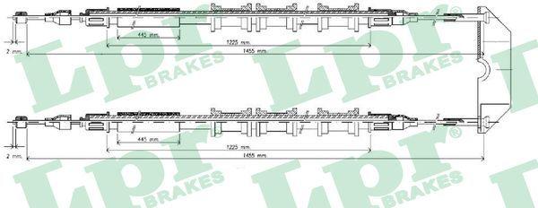 LPR  C0583B Seilzug, Feststellbremse Länge: 1455/1275+1455/1235mm