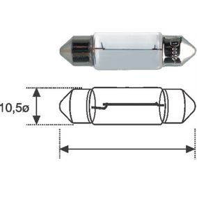 Крушка с нагреваема жичка, светлини на рег. номер C5W, SV8,5-8, 12волт, 7ват 002051700000
