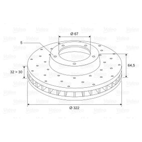 Disco freno Spessore disco freno: 32mm, Cerchione: 5-fori, Ø: 322mm con OEM Numero 2044211012