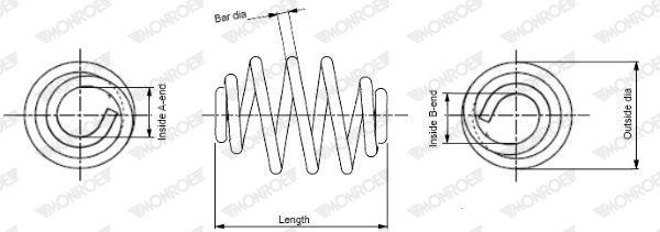 MONROE  SN0672 Fahrwerksfeder Länge: 215mm, Länge: 215mm, Länge: 215mm, Ø: 140mm