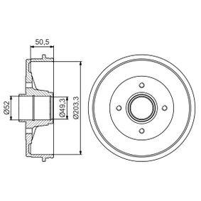 BOSCH  0 986 477 196 Bremstrommel Trommel-Ø: 203,3, Br.Tr.Durchmesser außen: 234mm