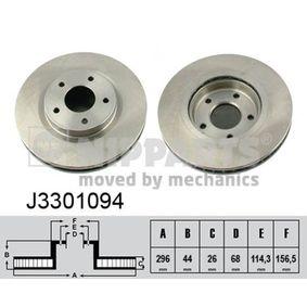 NIPPARTS  J3301094 Bremsscheibe Bremsscheibendicke: 26mm, Lochanzahl: 5, Ø: 296mm