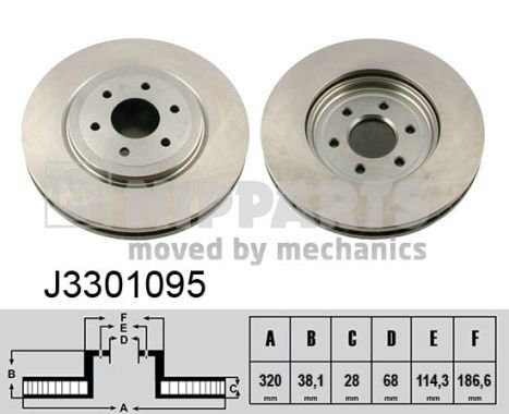 NIPPARTS  J3301095 Bremsscheibe Bremsscheibendicke: 28mm, Lochanzahl: 6, Ø: 320mm