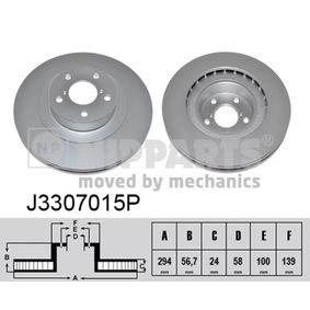Bremsscheibe Bremsscheibendicke: 24mm, Lochanzahl: 5, Ø: 294mm mit OEM-Nummer 26300 FE040
