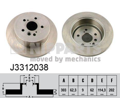 NIPPARTS  J3312038 Disco de freno Espesor disco freno: 9mm, Núm. orificios: 5, Ø: 303mm