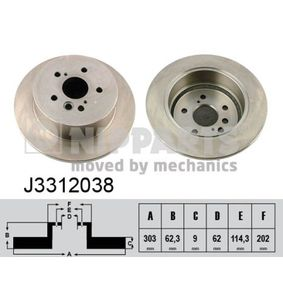 NIPPARTS  J3312038 Brake Disc Brake Disc Thickness: 9mm, Num. of holes: 5, Ø: 303mm