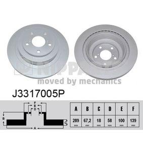 Bremsscheibe Bremsscheibendicke: 18mm, Lochanzahl: 5, Ø: 289mm mit OEM-Nummer 26700AE070