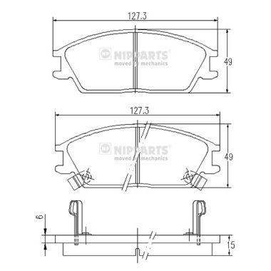 NIPPARTS  J3600515 Bremsbelagsatz, Scheibenbremse Dicke/Stärke: 15mm