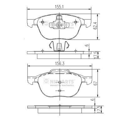 NIPPARTS  J3603063 Bremsbelagsatz, Scheibenbremse Dicke/Stärke: 17,5mm