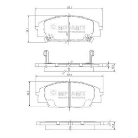 Brake Pad Set, disc brake Thickness 1: 16,6mm, Thickness 2: 17,0mm, Thickness: 15,8mm with OEM Number 45022S2AE50