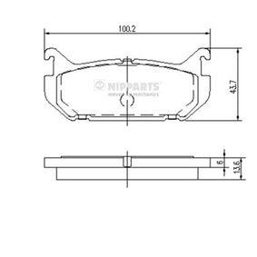 Bremsbelagsatz, Scheibenbremse Breite: 43,7mm, Dicke/Stärke: 13,6mm mit OEM-Nummer G5Y5 26 43Z