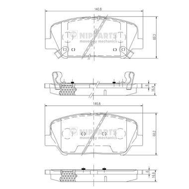 NIPPARTS  N3600547 Bremsbelagsatz, Scheibenbremse Dicke/Stärke: 16,9mm