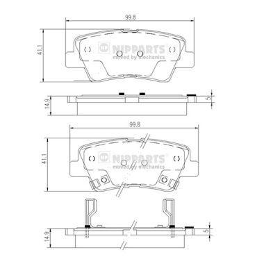 NIPPARTS  N3610519 Bremsbelagsatz, Scheibenbremse Höhe: 41,1mm, Dicke/Stärke: 14,8mm
