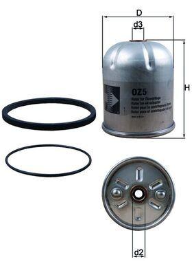 MAHLE ORIGINAL  OZ 5D Ölfilter Innendurchmesser: 14,0mm, Innendurchmesser 2: 14, 14,0mm, Innendurchmesser 2: 14mm, Höhe: 122mm