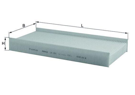 MAHLE ORIGINAL  LA 232 Filter, Innenraumluft Breite: 150,0mm, Höhe: 39,0mm