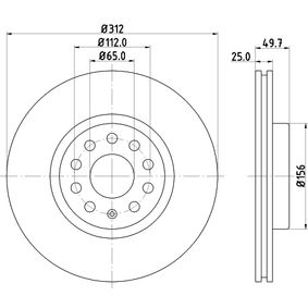Bremsscheibe Bremsscheibendicke: 25mm, Ø: 312mm mit OEM-Nummer JZW615 301 H