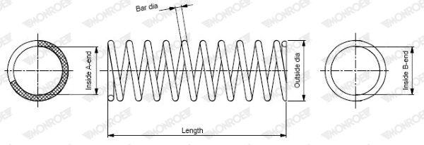 MONROE  SP0109 Coil Spring Length: 390mm, Length: 390mm, Length: 390mm, Ø: 108mm