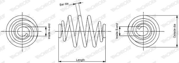 MONROE  SP0498 Fahrwerksfeder Länge: 249mm, Ø: 143,9mm