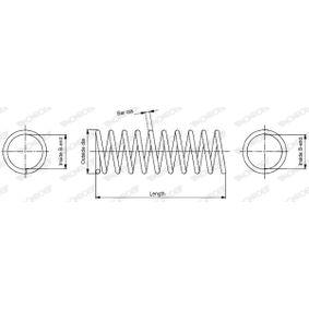 MONROE  SP2382 Fahrwerksfeder Länge: 438mm, Ø: 186,2mm