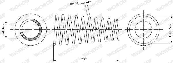 MONROE  SP3665 Fahrwerksfeder Länge: 312mm, Länge: 312mm, Länge: 312mm, Ø: 181mm