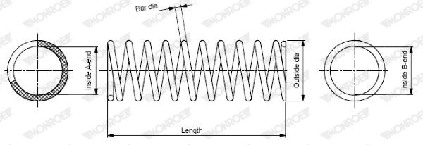 MONROE  SP3667 Fahrwerksfeder Länge: 344mm, Länge: 344mm, Länge: 344mm, Ø: 185mm