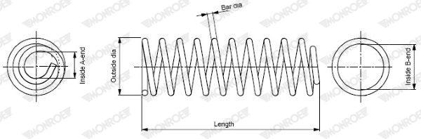 MONROE  SP3762 Fahrwerksfeder Länge: 370mm, Länge: 370mm, Länge: 370mm, Ø: 159mm