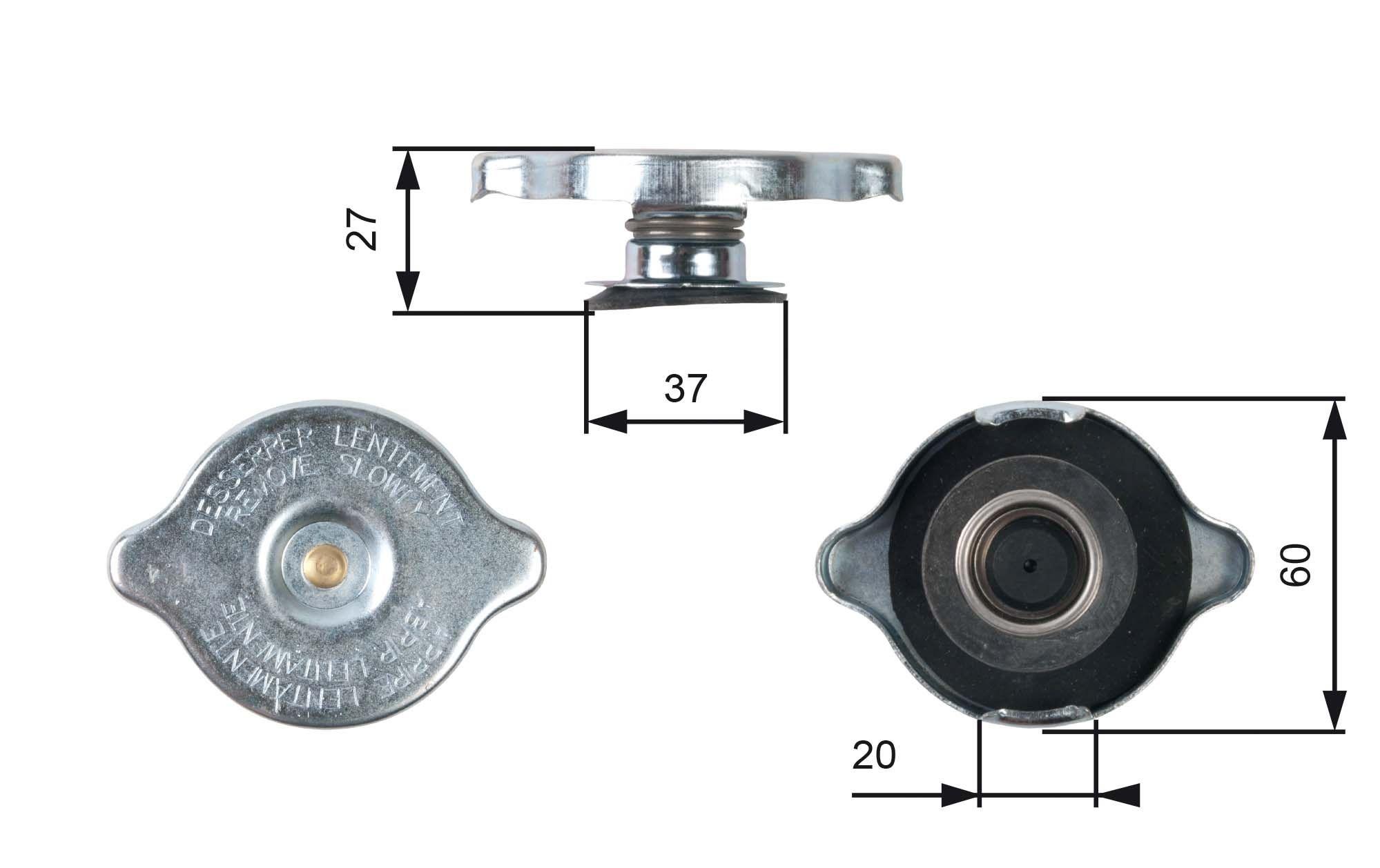 GATES  RC217 Verschlußdeckel, Kühlmittelbehälter