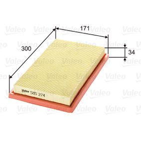 Filtre à air Longueur: 300mm, Largeur: 171mm, Hauteur: 34mm avec OEM numéro 60538903