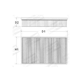 Luftfilter Länge: 229mm, Breite: 89mm, Höhe: 49mm, Länge: 229mm mit OEM-Nummer 1444 P8