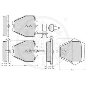Bremsbelagsatz, Scheibenbremse Breite: 56mm, Dicke/Stärke: 17mm mit OEM-Nummer JZW 698 451 D