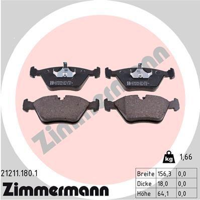 ZIMMERMANN  21211.180.1 Bremsbelagsatz, Scheibenbremse Breite: 156mm, Höhe: 64mm, Dicke/Stärke: 18mm