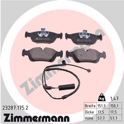 ZIMMERMANN  23287.175.2 Bremsbelagsatz, Scheibenbremse Breite: 151,5mm, Höhe: 57,9mm, Dicke/Stärke: 17,5mm