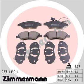Bremsbelagsatz, Scheibenbremse Breite: 151mm, Höhe: 58mm, Dicke/Stärke: 19mm mit OEM-Nummer 9949279