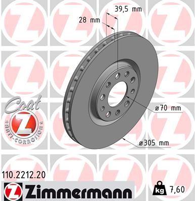 ZIMMERMANN COAT Z 110.2212.20 Bremsscheibe Bremsscheibendicke: 28mm, Felge: 5-loch, Ø: 305mm