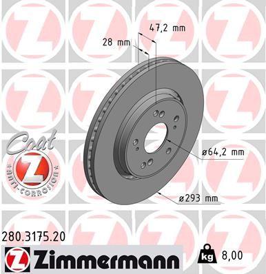 ZIMMERMANN COAT Z 280.3175.20 Brake Disc Brake Disc Thickness: 28mm, Rim: 5-Hole, Ø: 293mm