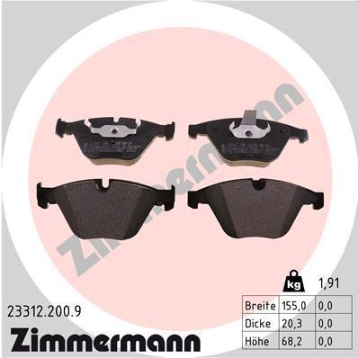ZIMMERMANN  23312.200.9 Bremsbelagsatz, Scheibenbremse Breite: 155mm, Höhe: 68mm, Dicke/Stärke: 20mm