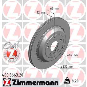 Спирачен диск 400.3663.20 M-класа (W164) ML 320 CDI 3.0 4-matic (164.122) Г.П. 2005