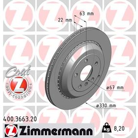 ZIMMERMANN COAT Z 400.3663.20 Спирачен диск Ø: 330мм
