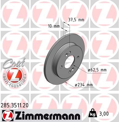 ZIMMERMANN COAT Z 285.3511.20 Brake Disc Brake Disc Thickness: 10mm, Rim: 4-Hole, Ø: 234mm