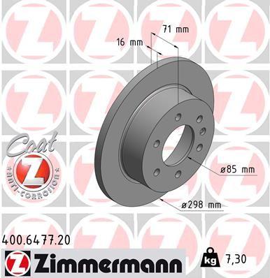 ZIMMERMANN COAT Z 400.6477.20 Bremsscheibe Bremsscheibendicke: 16mm, Felge: 6-loch, Ø: 298mm