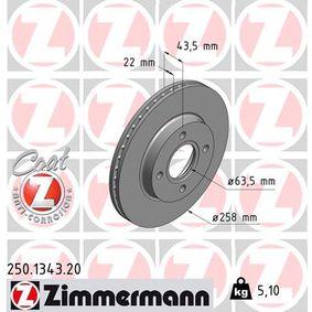 Brake Disc Brake Disc Thickness: 22mm, Rim: 4-Hole, Ø: 258mm with OEM Number 98AX1125B1F
