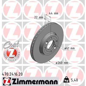 Bremsscheibe Bremsscheibendicke: 22mm, Felge: 4-loch, Ø: 260mm mit OEM-Nummer 402064911R