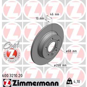 Bremsscheibe Bremsscheibendicke: 10mm, Felge: 5-loch, Ø: 268mm mit OEM-Nummer 1137985