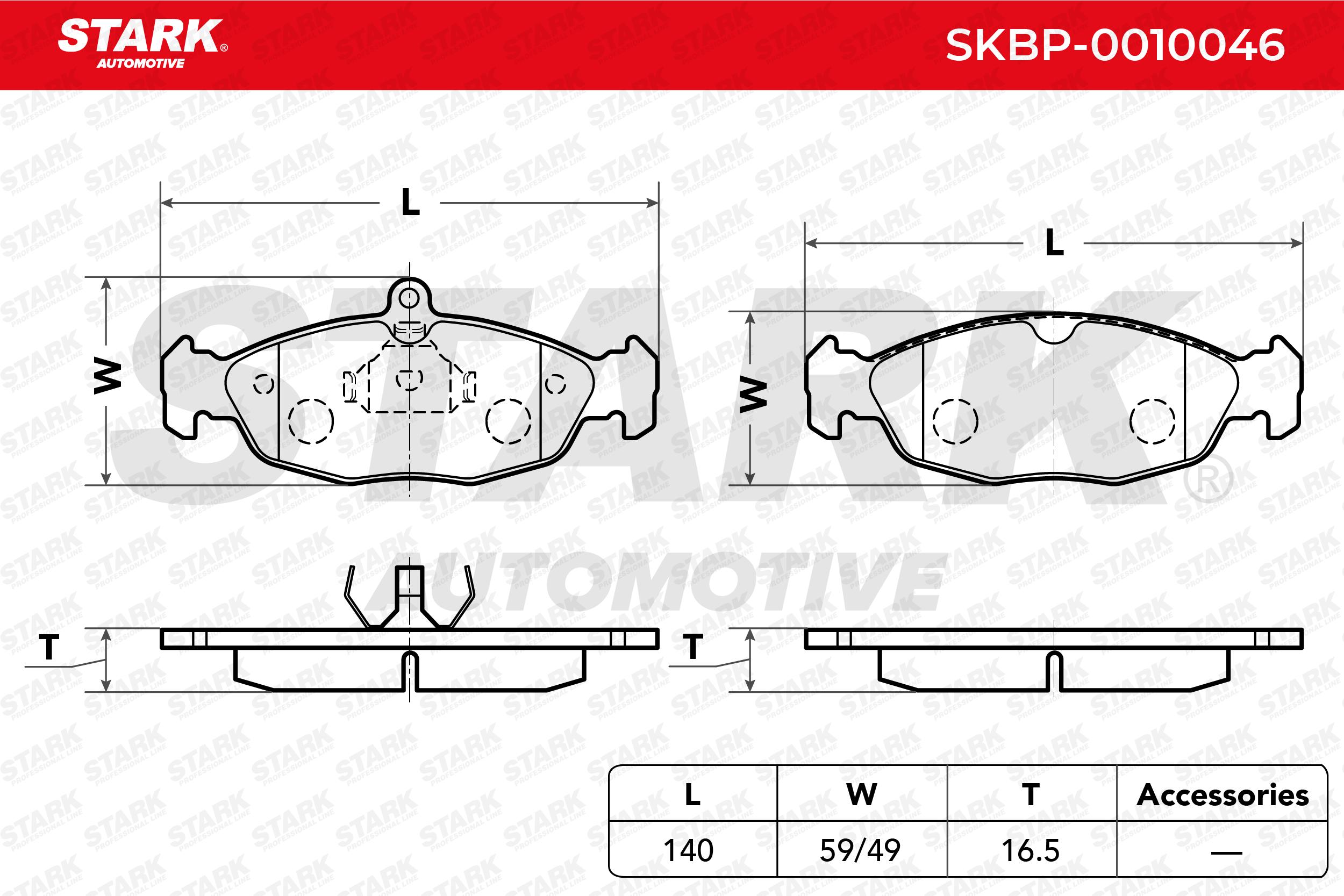 Комплект спирачно феродо, дискови спирачки STARK SKBP-0010046 4059191032341