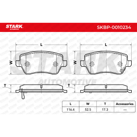 Brake Pad Set, disc brake Width: 116,4mm, Height: 52,5mm, Thickness: 17,3mm with OEM Number 55810 62J 31