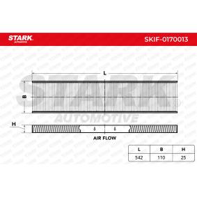 Filter, Innenraumluft Länge: 542mm, Breite: 110mm, Höhe: 25mm mit OEM-Nummer 1113 627