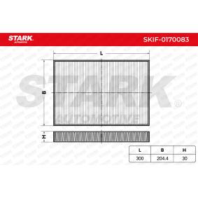 STARK Filter, Innenraumluft SKIF-0170083 für AUDI A4 (8E2, B6) 1.9 TDI ab Baujahr 11.2000, 130 PS